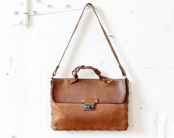 Brown Leather Satchel • Hand Tooled Leather Bag • Leather Attache • Tooled Leather Purse • 60s Purse • Tooled Leather Handbag | B625