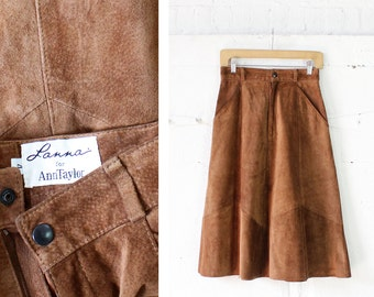 Brown Suede Skirt XS/S • Midi Skirt with Pockets • 80s Skirt • Ann Taylor High Waisted Skirt • Flared Skirt • Fall Skirt  | SK685