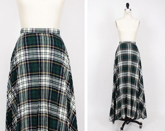 70s Green Plaid Maxi Skirt XS • Green Maxi Skirt • Wool Maxi Skirt • Pleated Maxi Skirt | SK187