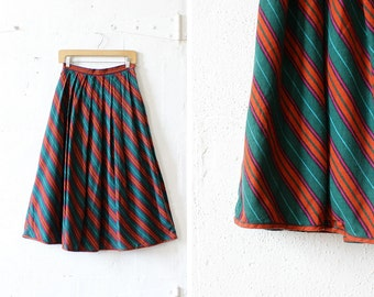 Striped Full Skirt S • Teal Magenta Midi Skirt with Pockets • Liz Claiborne Pleated Skirt | SK480
