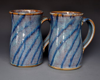 Pair of Large Ceramic Mugs Pottery Cups Beer Steins