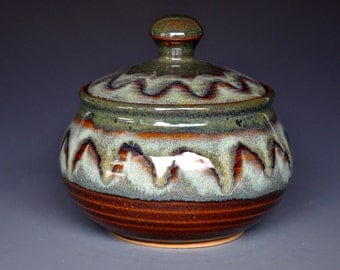 Vermont Mountain Jar Lidded Sugar Bowl Small Ceramic Stoneware  F
