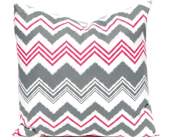 Chevron Pillow Covers - Pink and Gray - Decorative Pillow Covers - Pink Throw Pillow covers - Chevron Cushion Covers - Gray and Hot Pink