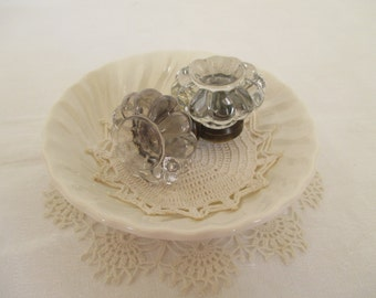 Vintage Glass Door Knobs - Shabby Chic - Cottage Decor - French Country - Two in Lot