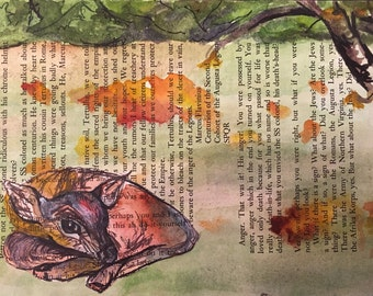 Sleeping Doe Watercolor Illustration on Book Page