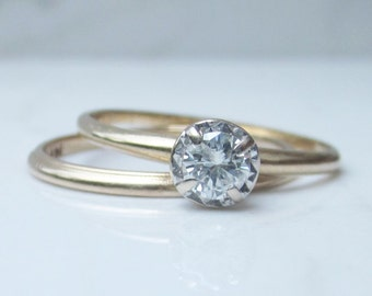 Vintage Diamond .31 Carat Solitaire Engagement Ring and Matching Wedding Band set in Solid 14k Yellow Gold