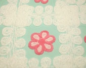 Beautiful Pink Flowers and White Curlicues on Aqua Vintage Chenille Bedspread Fabric Piece - Large Piece with 4 Flowers