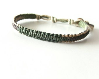 Camouflage Multi-color Hemp Bracelet, Hunter, Camp, Camo, Hemp Anklet, Indie Hemp Works, Hemp Jewelry, Aromatherapy, Natural, Bug Repellent