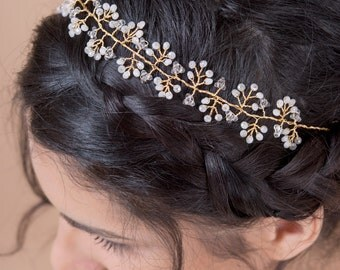 Hair vine headband bridal hair accessories hair wreath with hand wired crystals