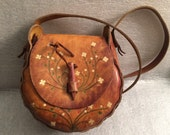Vintage Small Tooled Floral Leather Wood Handbag Hippie purse