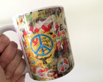 The Beatles Coffee Mug, John Lennon, Peace Sign, Imagine, Give Peace a Chance, All You Need is Love