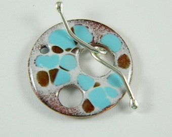 Enameled Focal Toggle Clasp with Argentium Sterling Silver Wire Toggle Bar