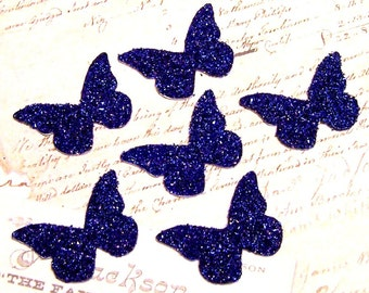 SAPPHIRE Blue Butterfly Glass Glitter Chips Set of 6