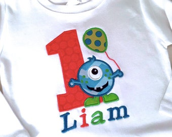 One Eye Monster Birthday Applique for Boys or Girls Shirt with Name and Number
