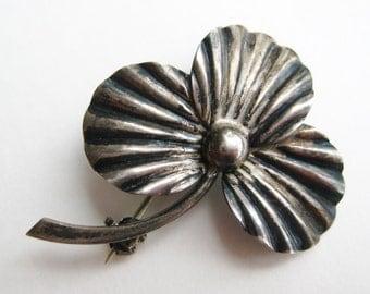 Vintage Hermann Siersbol Danish Sterling Silver Three Leaf Lucky Clover Good Luck Brooch Pin