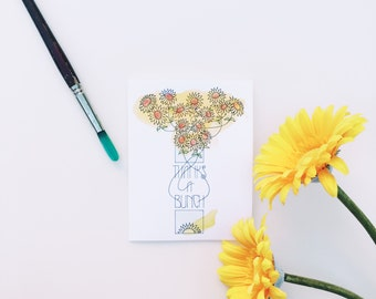 Greeting cards, Thank you cards, Sunflowers, Blank cards, Pen and ink, Watercolors, hand drawn, original artwork, cards with envelopes, card