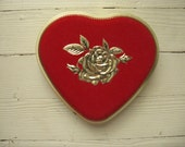 vintage heart candy tin red flocked heart tin valentine candy tin shabby feminine made in western germany