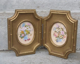 homco floral prints gold plastic frames home interiors ornate gold frames faux bamboo grannie chic 1982