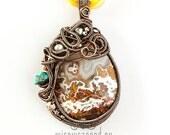 OOAK agate wire wrapped teardrop pendant
