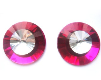 Hot Pink Crystal Earrings Retro - Pierced or Clip On Earrings - Magnetic Earrings