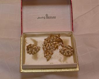 Crown Trifari pearl rhinestone leaf brooch and clip earrings set demi parure