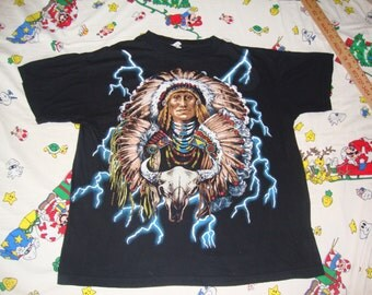 Vintage American Thunder Indian Native American Lightning Bolts punk rock hipster Heavy Metal T Shirt XL