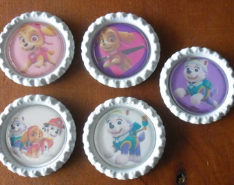 5 x Paw Patrol Inspired Flattened White Bottle Caps - Great for Jewellery, Cards, Keyrings