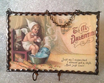 Vintage postcard frame for Christmas postcards  two sided copper patina