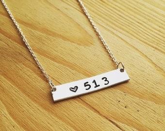 513 jewelry-hometown jewelry-cincinnati necklace-hand stamped jewelry-bar necklace-brass jewelry-cincinnati jewelry