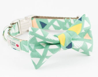 Pale Aloe Triangle Bowtie Dog Collar