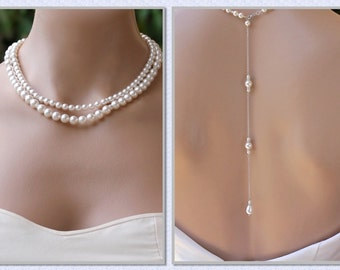 Pearl Back Drop Necklace, Double Strand Pearl Necklace, Pearl Bridal Necklace, Wedding Necklace