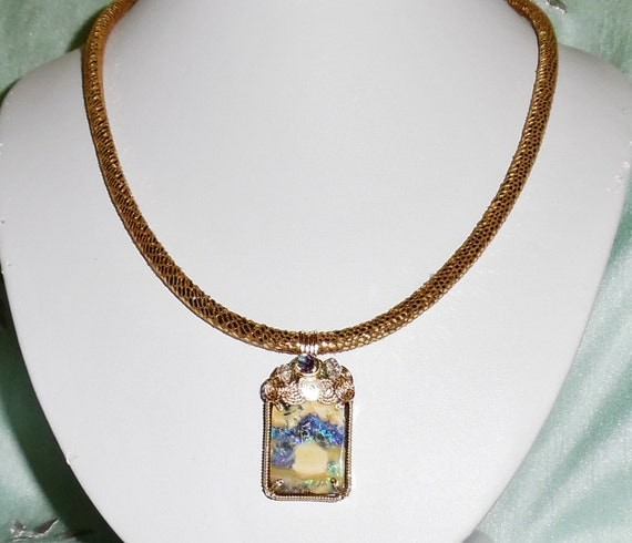 "NATURAL 34ct Australian Polished Boulder Opal stone, 14kt yellow gold, Metallic Gecko Leather Cord 19"" Necklace"