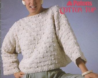 "Vintage Susan Bates for Patons ""Sun Appeal"" Cotton Top Knit and Crochet Leaflet"