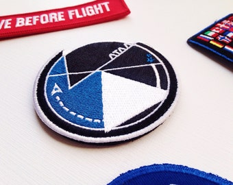 A Terra Ad Astra Mission Patch - NASA Inspired Space Patch - Minimal Geometric Astronaut Patch