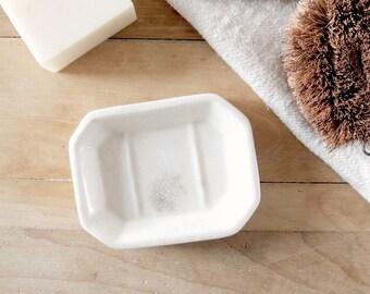 WHITE Ironstone Soap Dish Tray