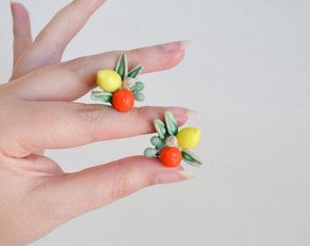 1950s Fruit salad cluster earrings / 50s lemon & orange clip on earrings