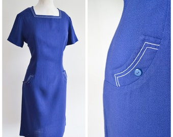 1960s Royal blue rayon fitted dress / 60s linen look day dress - L