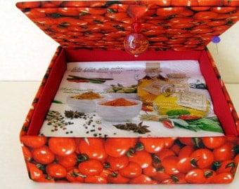 Hand stitched napkin box, serviette storage box, decorative box