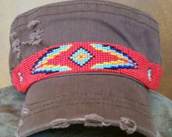 Brown Military Style Hat with Red Southwest Beading
