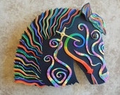 Whimsical Horse Clock or Wall Art Sculpture in Purple, Blue and Green Crazy Stripe Polymer Clay
