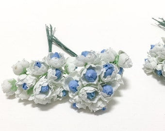 Artificial Flowers - 48 Tiny Little Roses in Blue and White - VERY SMALL FLOWERS - Flower Picks