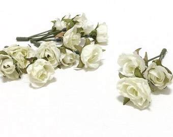15 Tiny CREAM WHITE Mini Roses - Dry Look - Artificial Flowers, Silk Flowers
