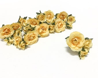 27 Tiny YELLOW Mini Roses -Artificial Flowers, Silk Flowers, Wedding, Millinery, Flower Crown