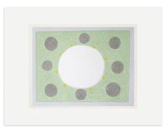 Organic, abstract, circles handmade screenprint, green and grey modern art by Emma Lawrenson.