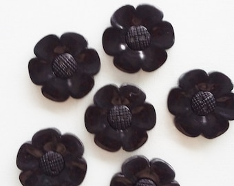 SALE - Lot of 6 Flower Buttons - 40mm-  Black