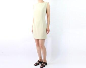 VINTAGE 1990s Minimalist Dress Beige Mini Sleeveless