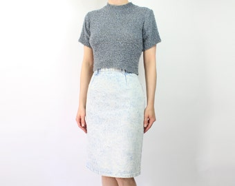 VINTAGE Denim Pencil Skirt High Waist Light Stonewash