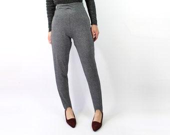 VINTAGE Silver Stirrup Pants Metallic Leggings High Waist