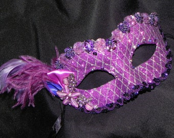 Purple and Silver Ladies Mask - Halloween Mask - Masquerade Mask