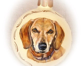 Custom Pet Portraits, realstic dog portraits on 4 inch glass ball ornaments - hand painted Christmas and memorial ornaments
